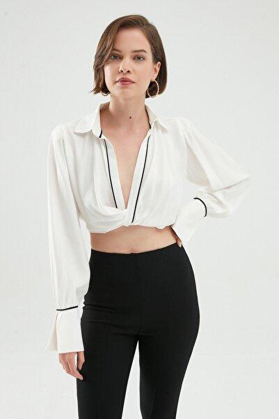 Quzu Kruvaze Bluz Beyaz
