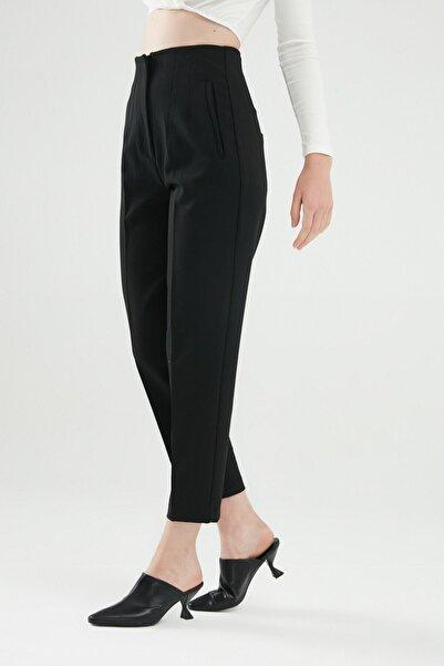 Quzu Pens Detaylı Pantolon Siyah