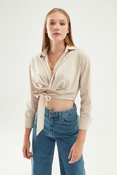 Quzu Kadın Önü Bağlamalı Crop Gömlek Taş