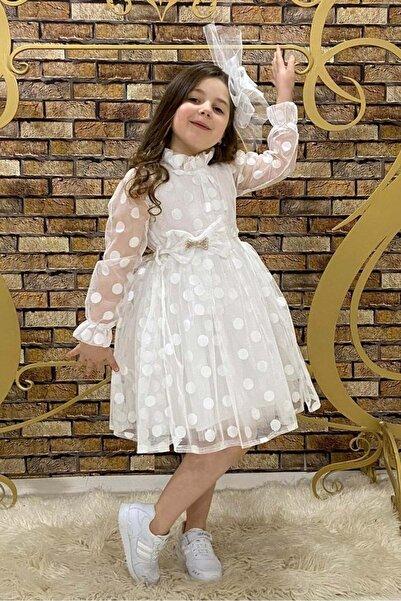 Mnk Kız Çocuk Beyaz Iri Puantiyeli Dantel Elbise