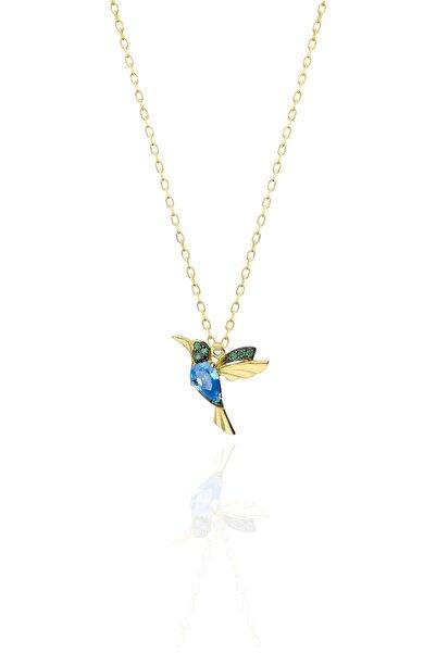 Papatya Silver 925 Ayar Gümüş Altın Kaplama Akua Ve Yeşil Taşlı Kuş Kolye