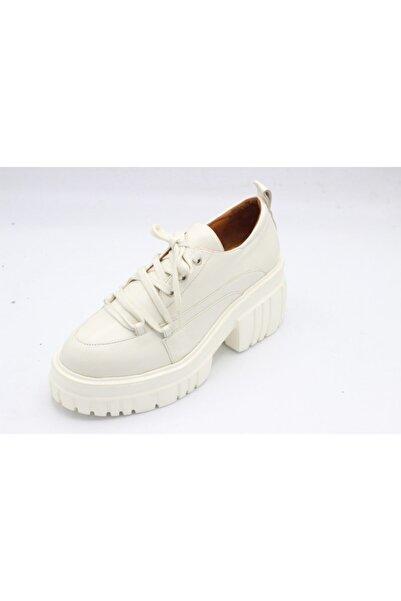 HES TREND Kadın Hakiki Deri Bej Bağcıklı Rahat Yüksek Taban Loafer Ayakkabı