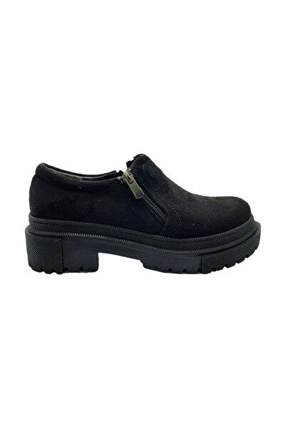 Markopark Kadın Siyah Süet Klasik Ayakkabı