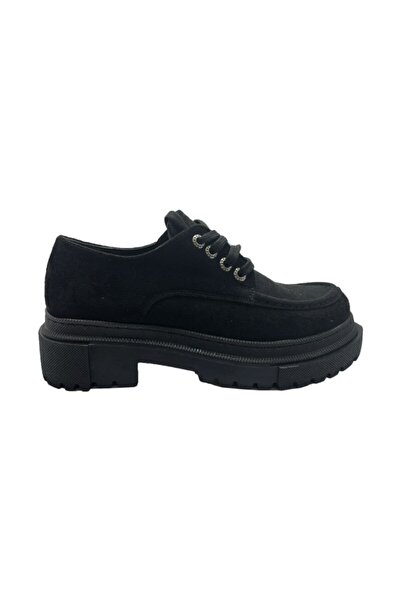 Markopark Kadın Siyah Süet Bağçıklı Klasik Ayakkabı