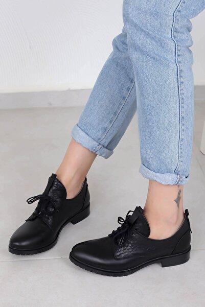 Tinka Bell Shoes 334 Kadın Siyah Kroko  Günlük Ayakkabı