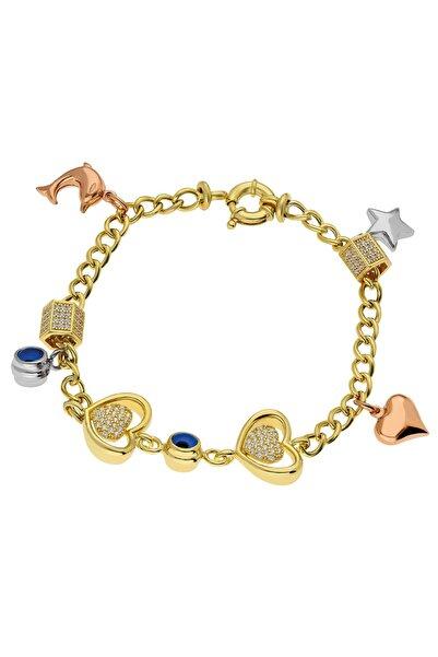 Chavin Hallow Altın Modeli Kalp Nazar Gümüş Bileklik Eh85