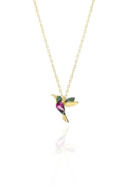 Papatya Silver 925 Ayar Gümüş Altın Kaplama Rubi Ve Yeşil Taşlı Kuş Kolye