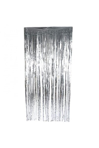 BöğürtlenPartiEvi Gümüş Işıltılı Püsküllü Arka Fon Kapı Duvar Perdesi