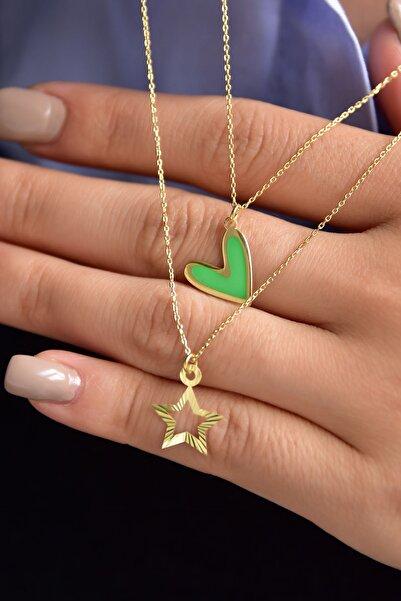 Papatya Silver 925 Ayar Gümüş Mineli Yeşil Kalp Yıldız Asansör Kolye