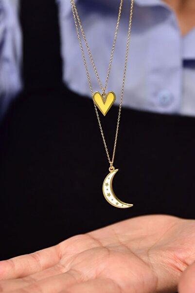 Papatya Silver 925 Ayar Gümüş Mineli Sarı Kalp Beyaz Ay Asansör Kolye