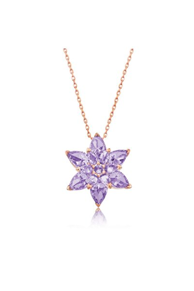 Gumush Gina Silver 925 Ayar Rose Altın Kaplama Lila Lotus Çiçeği Kadın Gümüş Kolye