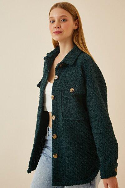 Happiness İst. Kadın Koyu Yeşil Oversize Buklet Gömlek Ceket NJ00073