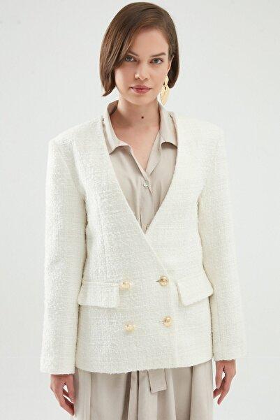 Quzu Kruvaze Tüvit Blazer Ceket Beyaz