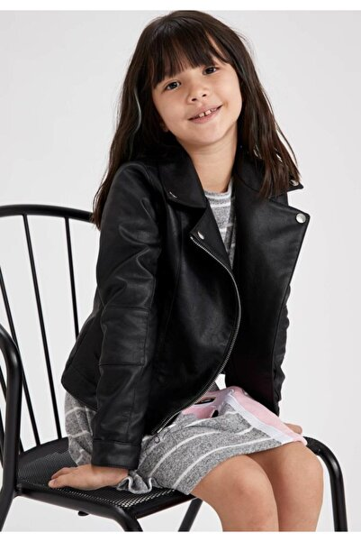 DeFacto Kız Çocuk Suni Deri Ceket