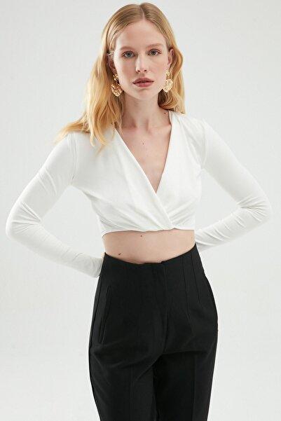 Quzu Kruvaze Crop Bluz Beyaz