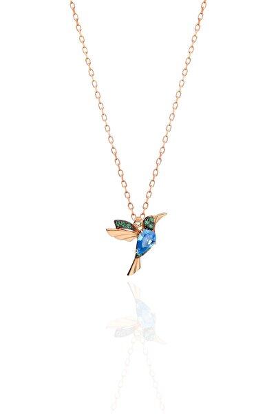 Papatya Silver 925 Ayar Gümüş Rose Kaplama Akua Ve Yeşil Taşlı Kuş Kolye