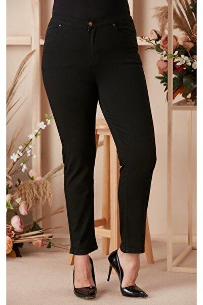 RMG Büyük Beden Likralı Yüksek Bel Siyah Kadın Pantolon
