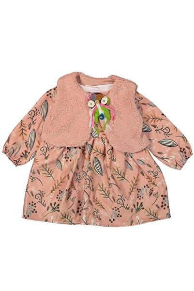 LAVİNİA Kışlık Kız Bebek Yelekli Elbise Pudra