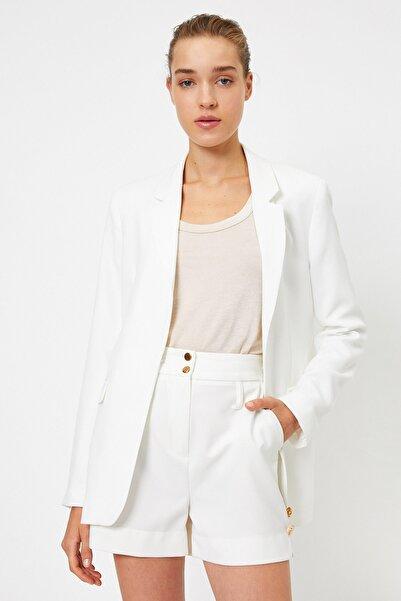 Koton Kadın Beyaz Cep Detayli Uzun Ceket