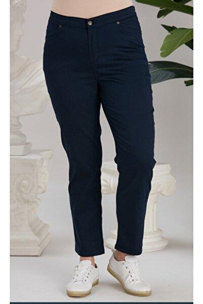 RMG Beli Lastikli Büyük Beden Pamuk Pantolon Lacivert