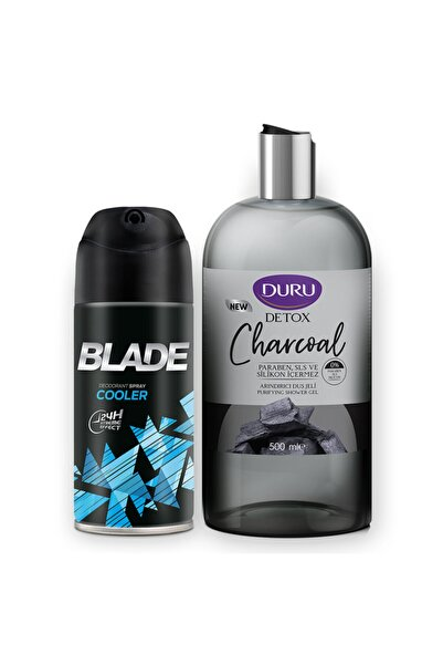 Blade Cooler Erkek Deodorant 150ml Ve Duru Detox Charcoal Duş Jeli 500ml