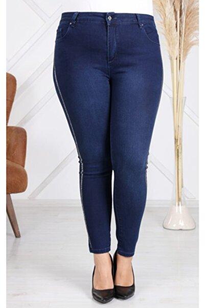 RMG Yanları Taş Işlemeli Büyük Beden Kot Pantolon