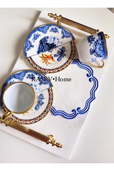 RASEVHOME Seletti Iki Desenli Model Blueblanch 2'li Türk Kahvesi Takımı