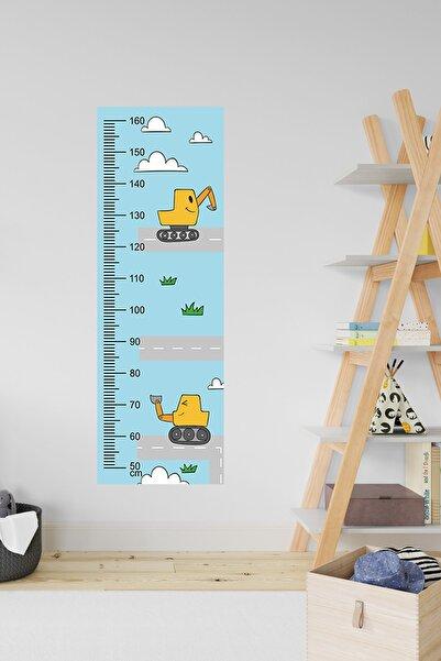 3M Çocuk Odası Dekoratif Boy Cetveli - Araba & Iş Makinesi & Vinç