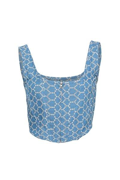 Quzu Askılı Crop Bluz Mavi