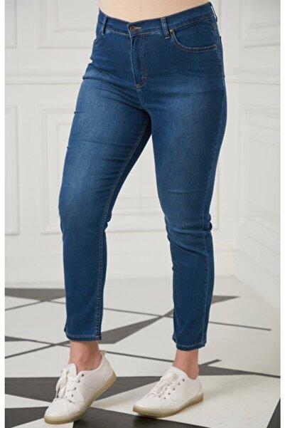 RMG Kadın Koyu Mavi Büyük Beden Likralı Yüksek Bel Pantolon