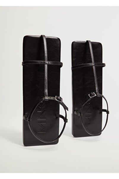 MANGO Woman Kadın Siyah Deri Kare Sandalet