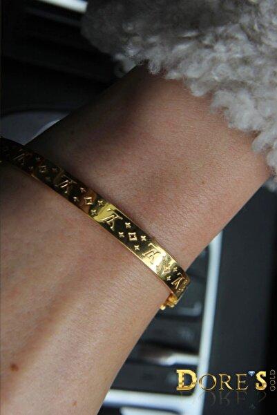 Dores Gold Kadın Sarı Desenli Kelepçe 14 Ayar Altın