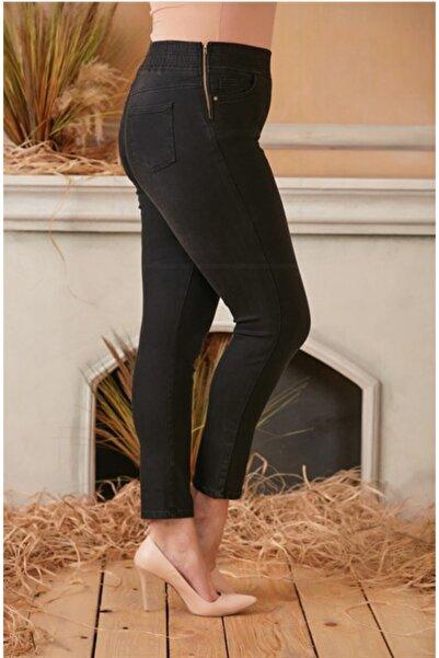 RMG Yanları Fermuarlı Beli Lastikli Büyük Beden Füme Kot Pantolon