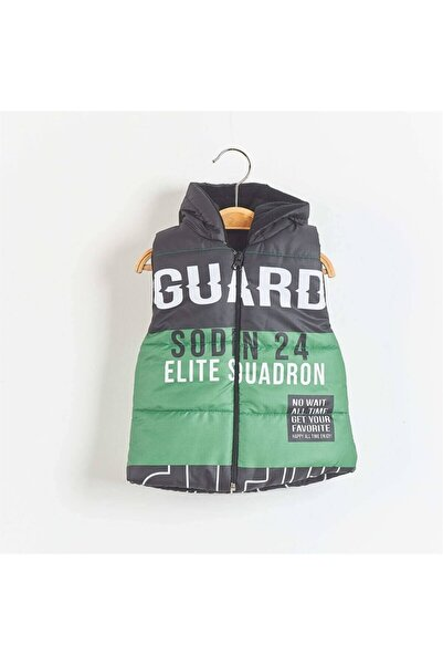 EXCLUSIVE Guard Baskılı Kapüşonlu Erkek  Çocuk Yelek 1-4 Yaş Yeşil
