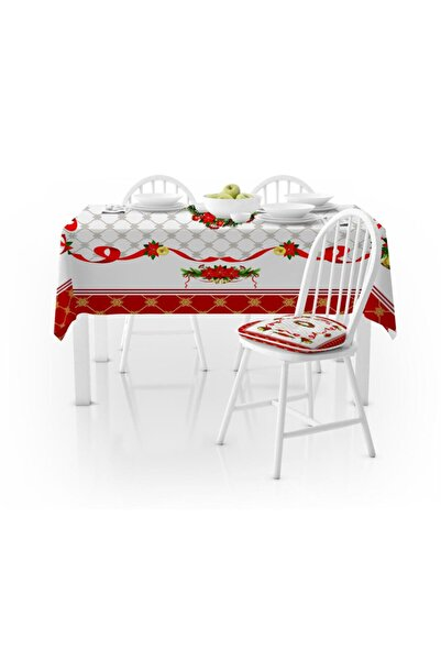 Else Halı Else Kırmızı Beyaz Yılbaşı Süslü Desenli Dekoratif Leke Tutmaz Masa Örtüsü Ps-5