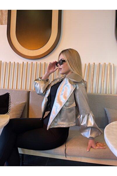 buckhorn Kadın Gri Balon Kol Orta Boy Suni Deri Ceket