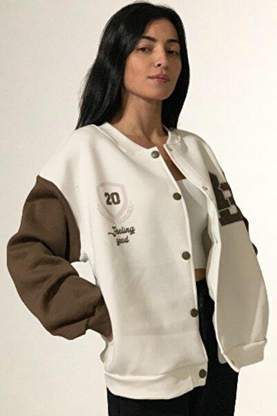 365 gün moda Kadın Beyaz 3 İplik İçi Polarlı Kolej Ceket