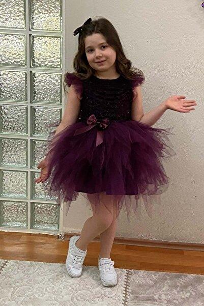 Mnk Tüllü Kırçıllı Kız Çocuk Parti Elbisesi