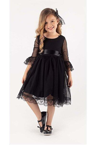 Mnk Garson Boy Siyah Dantel Tokalı Kız Çocuk Elbise