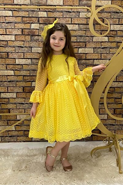 Mnk Sarı Fransız Dantel Tokalı Kız Çocuk Elbise