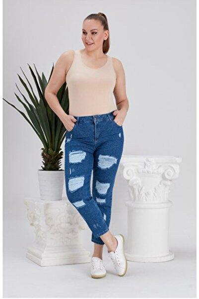 RMG Yırtıklı Büyük Beden Mavi Kot Pantolon