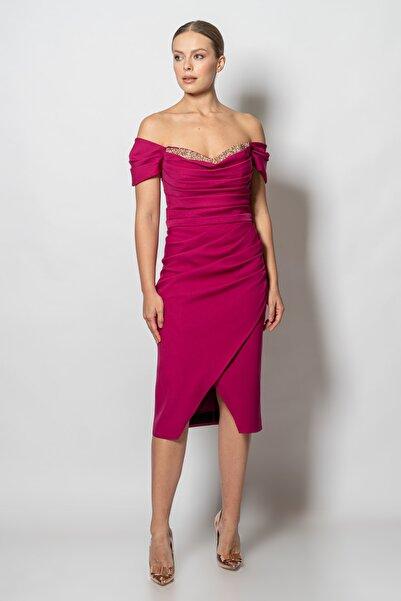 RENGIN Robası Pileli Göğsü Sıvama Taşlı Krep Elbise