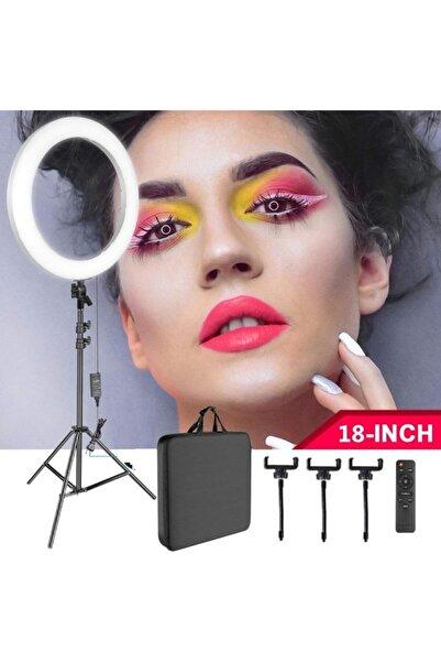 Enshall Mega Boy Ring Light Youtuber Makyaj Güzellik 5500k 48w Kuaför Kit Çantalı Ve Kumandalı 18 Inç Işık