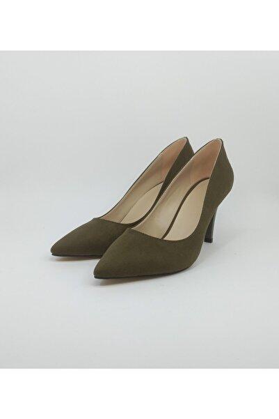 freeportshoes Kadın Haki Yeşil Süet Topuklu Ayakkabı