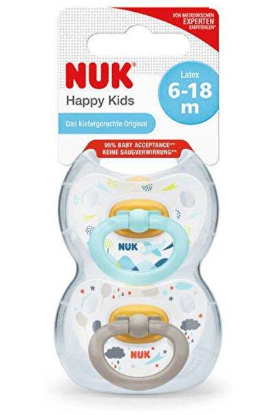 Nuk Yeni Happy Kids Kauçuk Damaklı Emzik 2'li Kutu (6-18 Ay) Mavi