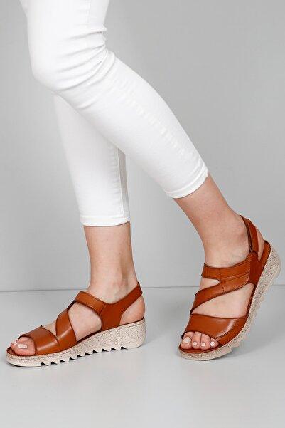 G.Ö.N Kadın Kahverengi Hakiki Deri Sandalet 45508