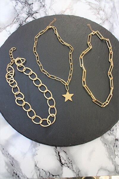 X-Lady Accessories Gold Kaplama Üçlü Kombin Zincir Kolye Seti