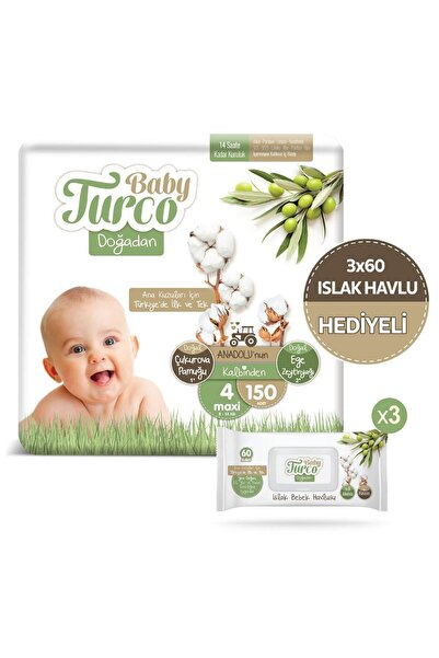 Baby Turco Doğadan 4 Numara Maxi 150 Adet + 3x60 Doğadan Islak Havlu