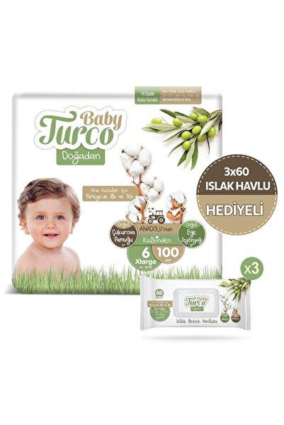 Baby Turco Doğadan 6 Numara Xlarge 100 Adet + 3x60 Doğadan Islak Havlu