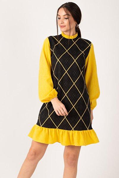 armonika Kadın Sarı Yakası Ve Altı Fırfırlı Desenli Elbise ARM-21K001041